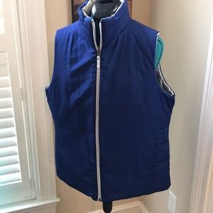 Blue and gray reversible puffer vest
